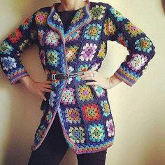 PDF Crochet Pattern for Granny Square Jacket with optional Crochet Vest Pattern, Crotchet Patterns, Crochet Coat, Crochet Jacket, Crochet Cardigan, Crochet Granny, Crochet Clothes, Lingerie Crochet, Crochet Scalloped Edge