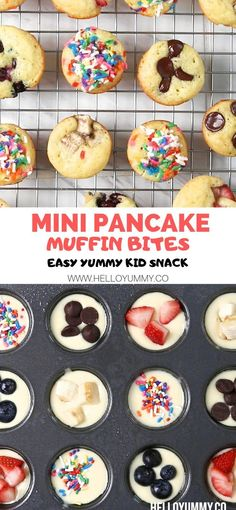 These mini pancake muffins make an easy healthy snack for kids or breakfast. Use These mini pancake muffins make an easy healthy snack for kids or breakfast. Use your favorite toppings. Great for a lunchbox treat too! Source by twocametrue Mini Pancakes, Mini Muffins, Pancakes Kids, Yogurt Pancakes, Office Food, Breakfast And Brunch, Healthy Kids Breakfast, Cute Breakfast Ideas, Breakfast Snacks