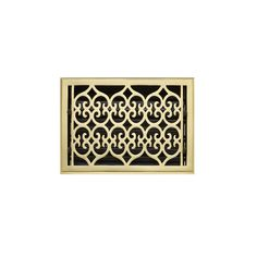 """Old Victorian Brass Floor Register - Polished Brass 8"""" x 14"""" (9-1/4"""" x 15"""" Overall)"""