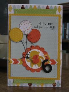 kaisercraft party animals card | Hand stitched details were added to the stamped balloons to give it ...