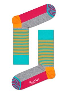 Pull on a pair of happiness with half-stripe socks. These colorful socks are expressive and fun to top off any outfit with lively class. Boasting solid patches of pink, gray, orange and blue alongside alternating strips of yellow and blue, there's no mistaking the fashion statement half-stripe socks offer. Available in sizes for women and men.