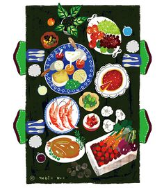 dinner table,family,party,table,food illustration,dinner,colors,illustrator,decoration,food art