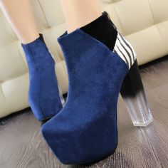 Attractive Suede Blue Round Closed Toe Chunky Super High Heel Boots #ShopSimple