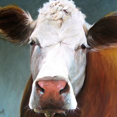 Nora the Cow  Canvas Print of an Original by ArtPaperGarden, $25.50