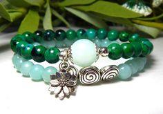 Amazonite Bracelet with Lotus Flower Charm – BlueStoneRiver