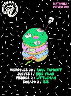 #donut #zombie #skull #pinchito #rock #vibora #viper #bar #illustration #poster #azucenagonzalez