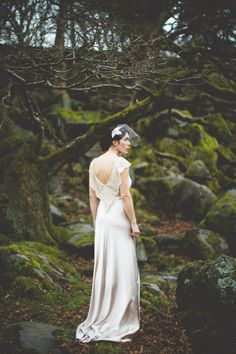1930s inspired bride in her hand made dress