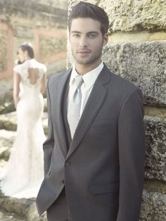 Charcoal Gray 2 Button Tuxedo Allure Modern Fit Notch Lapel - Bunnytuxedos