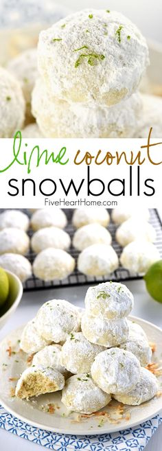 Lime Coconut Snowballs Tender Shortbread-Like Cookies Studded With Lime Zest and Toasted Coconut And Generously Rolled In Powdered Sugar For Perfect Year-Round Treats.From The Lazy Days Of Summer To A Christmas Cookie Platter Cookies Receta, Galletas Cookies, Köstliche Desserts, Delicious Desserts, Dessert Recipes, Holiday Baking, Christmas Baking, Christmas Cookies, Christmas Recipes