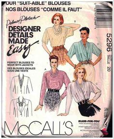McCall's Sewing Pattern 5296 Misses' Blouse Size: 20 Uncut