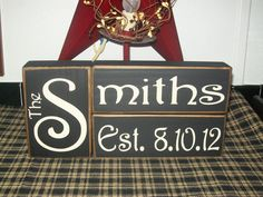 New Design Custom Primitive Personalized Marriage Family Name Wood Sign Blocks Distressed Country Decor on Etsy, $22.99