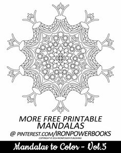 FREE Printable Mandala Coloring Page @ironpowerbooks | For more FREE Coloring pages follow our boards! | Happy Pinning  | Please use freely for personal non-commercial use