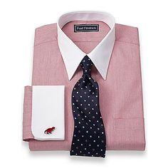 2-Ply Cotton Herringbone Straight Collar French Cuff Dress Shirt | Paul Fredrick