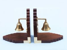 Solid Brass Plated Bell and Rosewood Book Ends from Handcrafted Nautical Decor Unusual Gifts For Men, Wood Bookends, Mens Valentines Gifts, Brass Fittings, Nautical Home, Home Accents, Solid Brass, Plating, Toy