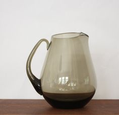 Vintage Hand Blown Glass Pitcher, Smokey Glass, Mid Century, Sangria, Iced Tea, Lemonade 1960s - pinned by pin4etsy.com