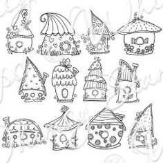 Birdhouse Cottage Collection By Mooncookie available at Whimsystamps