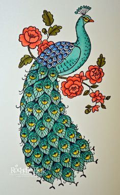 The Stamping Blok: First Colour of Perfect Peacock . Sta mpin' Up! Art Painting, Glass Painting Designs, Peacock Embroidery Designs, Art Drawings, Drawings, Fabric Painting, Art, Bird Art, Peacock Art