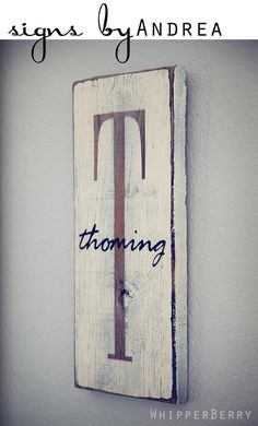 monogrammed wood sign - use negative stencil over wood so that natural color shines through