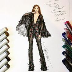 Luxurious Tony Ward Couture lace jumpsuit ✨ (Haute Couture collection Fall Winter 2017) @tonywardcouture #handdrawn #sketch #sketching #tonyward #fashionillustration #luxury #designer #paris #art #couture #event #embroidery #party #hautecouture #beautiful #lace #cape #jumpsuit #рисунок #instafashion #instalike  #nataliazorinliu #fashion #draw #followme #blogger #follow  #copicmarkers #chic #fashionista