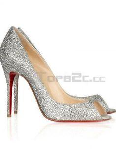 4 1/3'' High Heel Silver Lint Womens Fashion Shoes