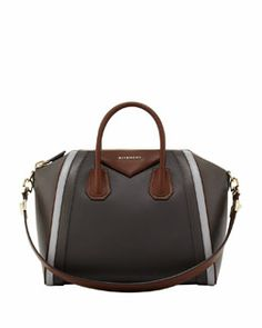 L0B0L Givenchy Antigona Medium Tricolor Satchel Bag, Dark Gray