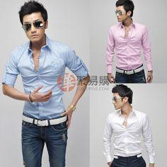 纯色修身男士时尚长袖衬衫-白色-L  USD $4.99
