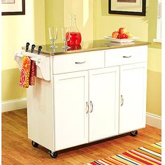 Extra Large Kitchen Cart, White with Stainless Steel Top