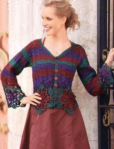 Delicadezas en crochet Gabriela: Chaquetas florales
