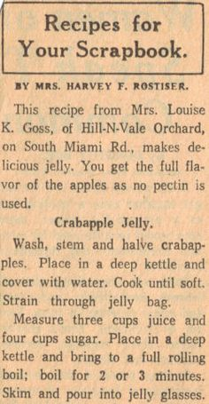 old recipe for crab apple jelly Retro Recipes, Old Recipes, Canning Recipes, Vintage Recipes, Crab Apple Recipes, Jelly Recipes, Crabapple Jelly Recipe, Crab Apple Jelly, Hash Recipe