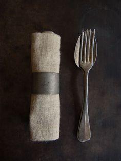 Beautiful Antique Silverware & Natural Linen