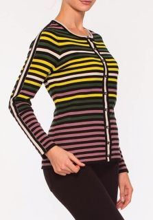 There is nothing classier than a vintage colored stripe cardigan. The mustard, forest green and mauve act as nuterals. You may be surprised what outfits this cardigan will go with. Opens up the front with metallic buttons along a cream colored stripe. 55% Acrylic and 45% Cotton.