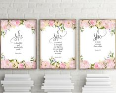 Nursery Wall Art, Set of 3 prints, She Is More Precious Than Jewels, Fearfully and Wonderfully Made, She Is clothed In Strength and Dignity Boys Christening Romper, Baby Boy Baptism Outfit, Nursery Wall Art, Girl Nursery, Nursery Decor, Brown Nursery, Nursery Room, Nursery Ideas, Room Ideas