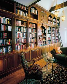 Grand Library, Library Study Room, Library Wall, Dream Library, Library Ladder, Custom Bookshelves, Built In Bookcase, Bookcases, Bookcase With Ladder