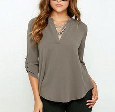 2016 Autumn Women Sexy v-neck blusas loose feminina camisas Plus size women blouses chiffon blouse fashion ropa mujer Chiffon Blouses, Chiffon Shirt, Chiffon Tops, Women's Blouses, Chiffon Fabric, Sheer Chiffon, Blouses 2017, Chiffon Dress, Chiffon Material
