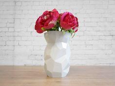 Poligon Vase - quality porcelain tall flower-vase geomatric vases geometric-al high white plants pots Fine Porcelain, Porcelain Ceramics, Ceramic Vase, Painted Porcelain, Hand Painted, Flower Vases, Flower Pots, Vase Design, Tall Flowers
