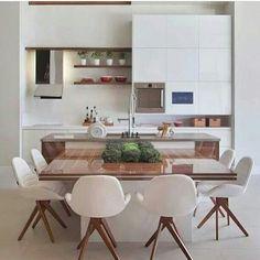 """152 Likes, 6 Comments - Arquitetura, Decoração, Design (@construindominhacasaclean) on Instagram: """" cozinha clean com mesa de jantar na bancada! Projeto Daniella Jacomossi Veja mais no #blog…"""""""