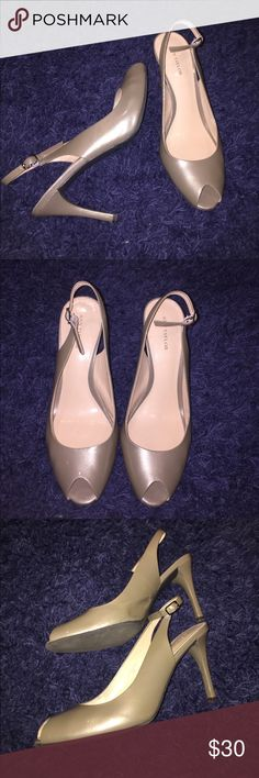 Ann Taylor formal heel Used but still good wearable condition Ann Taylor formal heel with open heel and buckle design.  Leather upper and handmade sole. Size 9. Any questions let me know.  4 inch heel. Ann Taylor Shoes Heels