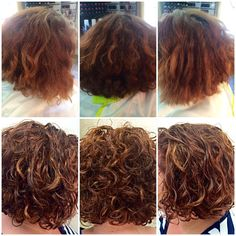 Before After Deva curl cut with Caramelized Colors - totally want this style and color. Gonna splurge one day.