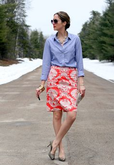 Chambray skirt and a scroll-print pencil skirt     Laura Wears - find patterned pencil skirt for fall with new JCrew shirt