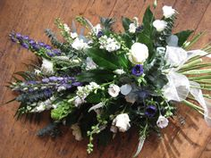 A sheaf arrangement funeral tribute delivered in and around st.ives by flower bar ltd florists Flower Bar, My Flower, Funeral Floral Arrangements, Flower Arrangements, Funeral Ideas, Funeral Tributes, Memorial Flowers, Cemetery Flowers, Hand Tied Bouquet