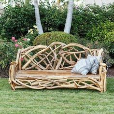 Find the unique and exotic with this Teak Driftwood Branch Bench from Om Gallery. Twig Furniture, Driftwood Furniture, Driftwood Projects, Driftwood Art, Garden Furniture, Outdoor Furniture, Outdoor Decor, Modern Furniture, Furniture Ideas