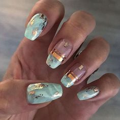 120 trending early spring nails art designs and colors 2019 page 39 - Marmor Nails - Nageldesign Marble Nail Art, Acrylic Nail Art, Teal Nail Art, Spring Nail Art, Spring Nails, Fall Nails, Summer Nails, Cute Nails, Pretty Nails