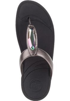 FitFlop Chada Flip Flop Pewter Leather - Jildor Shoes, Since 1949