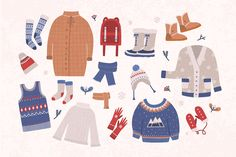 Warm winter clothes set and seamless – Illustrations Winter Illustration, Flat Design Illustration, Cute Illustration, Warm Outfits, Winter Outfits, Winter Kids, Drawing Clothes, Kids Prints, Winter Sweaters