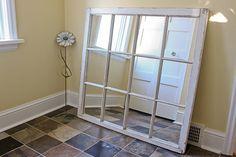 DIY window pane mirror. Great tutorial!