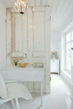 Old door used as a room divider