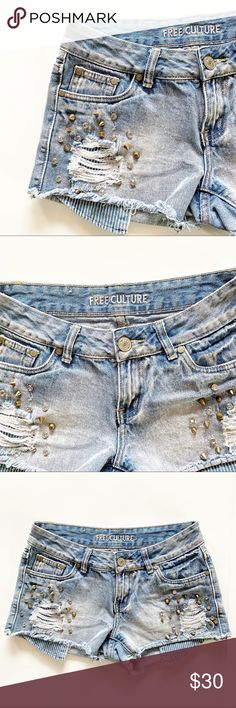8d8a43989565 Free Culture Studded Destroyed Cut Off Shorts 3 ▫️Condition: Pre-Owned Good  Condition ▫️Brand: Free Culture ▫️Size: 3 Juniors ▫️Diamond Studded ...