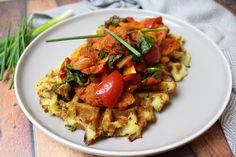 The perfect comfort food for the colder months. Vegan Mediterranean style sausage casserole with homemade potato waffles.