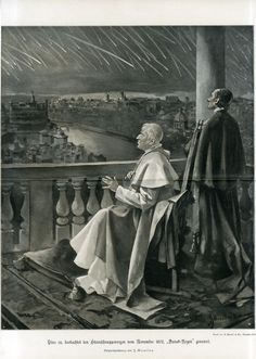 c1900 METEOR SHOOTING STAR RAIN 1872 POPE PIUS IX Antique Litho Print Flammario