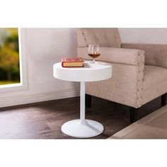 Shop for Mindy Wood Round Side Table With Storage - White . Get free shipping at Overstock.com - Your Online Furniture Outlet Store! Get 5% in rewards with Club O!
